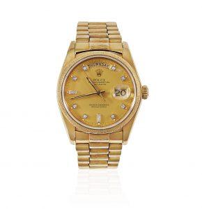 Rolex men'sDay-Date Presidential Diamond Dial 18k yellow gold watch