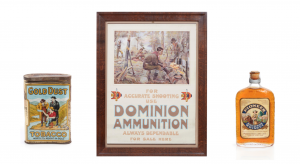 Gold Dust Tobacco, Dominion Ammunition poster, Pioneer Whiskey bottle