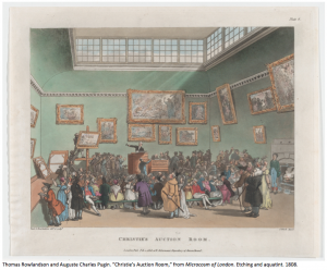 art depicting Christie's auction room in 1800s