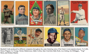 various baseball cards produced by different companies