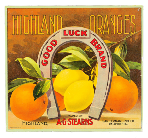 Highland Oranges fruit label
